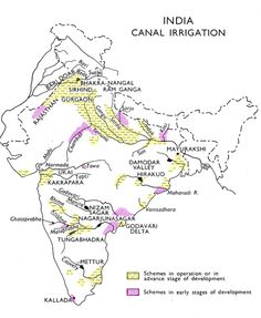 The monsoonal rainfall in India is concentrated only in four months and more than of the net sown area is rainfed only. Irrigation is thus essential to overcome spatial and temporal variation o… Physical Geography, Geography Lessons, Teaching Geography, Teaching History, History Education, India World Map, India Map, Indian River Map, World Geography Map