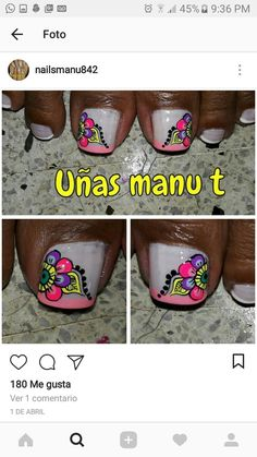 Summer Toe Nails, Toe Nail Art, Love Nails, Finger, Manicure, Nail Designs, Finger Nails, Decorations, Toenails Painted
