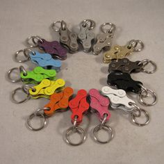 14 COLORS Bike Chain Key Chain by thehippychicksews on Etsy, $3.00