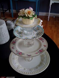 made with vintage plates and candle sticks