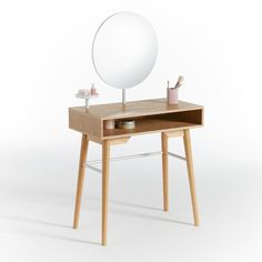 Agura Dressing Table with Mirror LA REDOUTE INTERIEURS .The most stylish way to get yourself ready and raring to go.A retro-inspired dressing table made modern by its crisp lines and sleek finishes. Home Furnishing Accessories, Home Furnishings, 1 Drawer Dressing Table, Dressing Mirror, Contemporary Dressing Tables, Retro Stil, Scandi Style, Dresser With Mirror, Round Mirrors