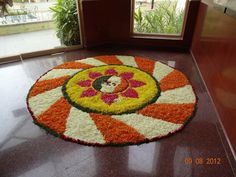 60 Most Beautiful Pookalam Designs for Onam Festival Indian Rangoli Designs, Rangoli Designs Flower, Rangoli Designs With Dots, Rangoli Designs Images, Flower Rangoli, Rangoli Colours, Rangoli Patterns, Rangoli Ideas, Diwali Decorations At Home