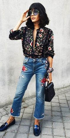 denim trends   printed blouse + embroidered jeans + bag + loafers Mode  Femme, Mode cb367df49d0