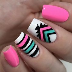 The same goes for the tribal nail designs. 13 New Tribal Nail Designs. Cute Nail Art, Cute Acrylic Nails, Pastel Nail, Pink Nail, Love Nails, Fun Nails, Tribal Nails, Manicure E Pedicure, Fabulous Nails