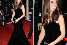 Kate in black velvet evening gown