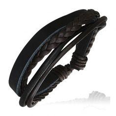 Bracelet homme Zense ajustable contemporain et tendance mode en cuir et avec cordes noires et marrons. Matière : cuir. Longueur :18 cm à 24 cm (ajustable). Poids : 5 g. Référence : ZB0074.