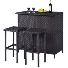 Product Description 3 Piece Outdoor Rattan Wicker Bar Set includes 1 table and 2 stools. Being made of rattan wicker makes this modern furniture set not only be Outdoor Patio Bar Sets, Patio Table, Outdoor Tables, Outdoor Living, Outdoor Entertaining, Outdoor Balcony, Balcony Ideas, Patio Ideas, Landscaping Ideas