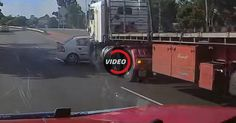 Semi Truck Fails To Notice Car While Changing Lanes, Accident Ensues #Accidents #Australia