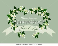 Orange blossom wreath with flowers, buds and leaves. Wedding invitation card with fleur d'orange (neroli) heart and ribbon. Vector illustration for use in web design, print or other visual area. - stock vector