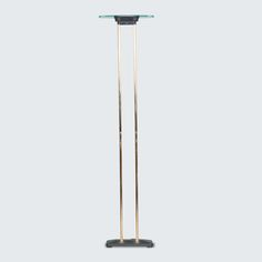 DUTCH FLOOR LAMP IN GLASS AND BRASS, line Absolutely amazing, this floor lamp is simple and stylish with two brass legs, sturdy black base and a two piece glass top joined by perforted black metal to project the light beautifully. Mid Century Lighting, Black Metal, Floor Lamp, Dutch, 1960s, Restoration, Chrome, Table Lamp, Brass