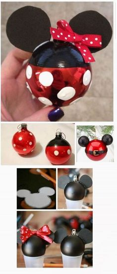 Minnie-or-Mickey-Mouse-Weihnachtsverzierung … - Noel dekoration Mickey Mouse Christmas Ornament, Disney Christmas Decorations, Mickey Mouse Crafts, Christmas Projects, Kids Christmas, Holiday Crafts, Disney Diy, Disney Crafts, Deco Noel Disney