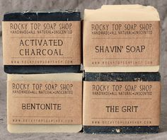 """manly man"" soap for rocky top soap shop. three hands/face/body bars and one shaving bar. $20."