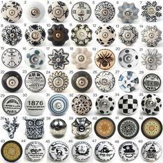 Vintage Ceramic Knobs, Ornamental Door Knobs With Various Black, White U0026  Grey Designs,