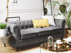 3-Sitzer Sofa Polsterbezug grau CHESTERFIELD Chesterfield Sofa, Sofas, Love Seat, Couch, Furniture, Home Decor, U Shaped Sofa, Contemporary Outdoor Furniture, Modern Retro