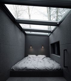 I want my bed to be in this kind of space when I build my house. California king sized mattress in a nook with a stargazing ceiling. Of course my room would extend beyond this area.