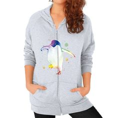 Psychedelic Penguin Zip Hoodie (on woman)