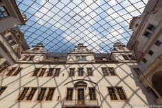 Inner Courtyard of Dresden Castle with foil cushion roof made with Dyneon ETFE…