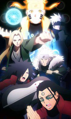 Hashirama, Madara, Tobirama, Tsunade, Kakashi and Naruto Naruto Shippuden Sasuke, Naruto Kakashi, Anime Naruto, Naruto Sad, Naruto Fan Art, Madara Uchiha, Naruto Gaiden, Naruto Triste, Super Anime