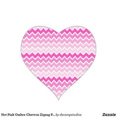 Hot Pink Ombre Chevron Zigzag Pattern Heart Sticker