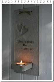 Make the two hearts out of thumb prints. One heart ours the other heart the boys Cement Art, Concrete Cement, Concrete Furniture, Concrete Crafts, Concrete Projects, Concrete Garden, Concrete Design, Concrete Planters, Concrete Candle Holders
