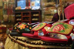 Peranakan beaded slippers somewhere in Katong