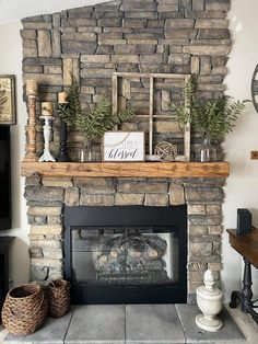 Stone Fireplace Mantles, Farmhouse Fireplace Mantels, Fireplace Redo, Rustic Fireplaces, Fireplace Remodel, Living Room With Fireplace, My Living Room, Stone Fireplace Surround, Fireplace Hearth Decor