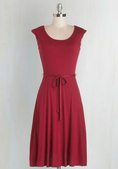 Easygoing My Own Way Dress - Red, Solid, Belted, Casual, A-line, Cap Sleeves, Knit, Good, Scoop, Mid-length