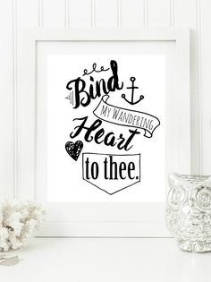 "Instant ""Bind My Wandering Heart to Thee"" Digital Wall Art Print  8x10 Modern Christian Art, Scripture Print, Digital Download by hbixler03 on Etsy"