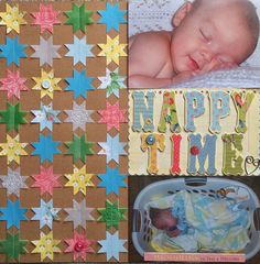Nappy Time - Scrapbook.com - Punch one shape from various patterned papers and machine sew in a grid to create a quilted look perfect for a baby layout.
