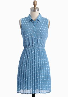 Sky blue is the perfect palette for the delightful ivory polka dots that adorn this delicate georgette dress. $47
