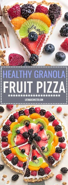 This Healthy Breakfast Fruit Pizza makes the perfect healthy and extra special breakfast, brunch or dessert. Best of all, it's so easy to make in less than 30 minutes with your favorite fresh fruit, a gluten free granola crust and Vanilla Greek yogurt. Perfect for Mother's Day, Father's Day, Fourth of July, barbecues, potlucks or any other shower or party for spring and summer!
