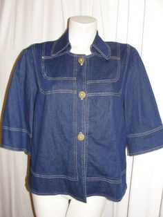 QVC SUSAN GRAVER Dark Blue Stretch Denim 3/4 Sleeve Button Jean Jacket Sz M #SusanGraver #BasicJacket