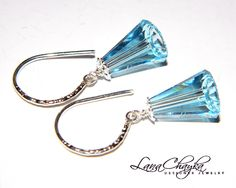 Mother of The Bride Gift Earrings Swarovksi Aquamarine Crystal 925 Sterling Silver. $21.00, via Etsy.