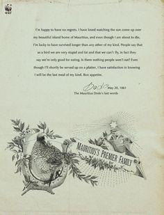WWF: Last Words of the Mauritius Dodo