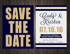 Two Sided Navy and Gold Save the Date by SweetTeaSpecialties