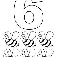 Desenho De Numero 6 Com Figuras Para Colorir Paginas Para