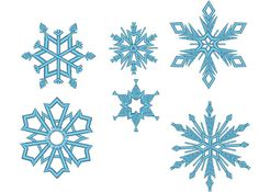 6 Snowflakes  machine embroidery design  files van artapli op Etsy
