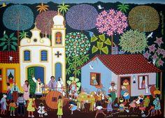 CASAMENTO DO INTERIOR (Pintura),  50x70 cm por Militão Dos Santos Pintura no estilo Naïf em óleo e acrílico sobre tela.- Brasil