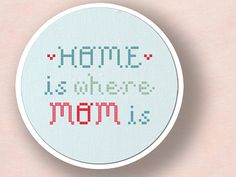 Home is Where Mom is. Text PDF Cross Stitch Pattern von andwabisabi
