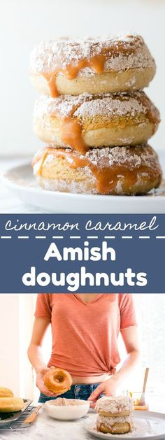 Baked donuts dipped in caramel and rolled in cinnamon powdered sugar. Copycat Rise N Roll donuts form Amish Country! Amish Donuts Recipe, Donut Recipes, Baking Recipes, Snack Recipes, Dessert Recipes, Pastries Recipes, Snacks, Baking Ideas, Copycat Recipes