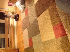 Our $20 DIY area rug! Carpet samples+razor knife+carpet seam tape=gorgeous new rug!
