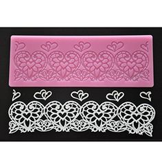 FOURC Lace Silicone Mat Heart Embossing Pad Cake Lace Mold Color Pink >>> Read more reviews of the product by visiting the link on the image.