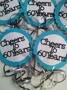 Something else I could make... 30th 40th 50th 75th Birthdays and Anniversary Centerpiece Displays with Personalized Text. $9.50, via Etsy.