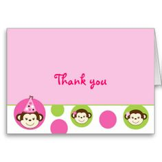 Mod Girl Monkey Pink Green Thank You Note Cards! Make your own foldedcards more personal to celebrate the arrival of a new baby. Just add your photos and words to this great design. Thank You Note Cards, Custom Thank You Cards, Mod Girl, Monkey Girl, Make Your Own, How To Make, Smudging, Pink And Green, Paper Texture