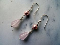 Rose Quartz earrings, long pink earrings, pale pink gemstones, pink shell pearls, pastel pink wedding earrings, Edwardian jewellery, UK made - pinned by pin4etsy.com