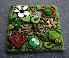 Found Object Art Tile Dragonfly Dreams OOAK por MandarinMoon