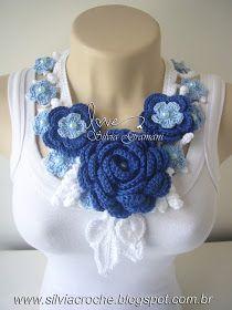 croche, azul, colar de croche, colar de flores, colar de flores de de croche