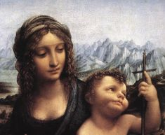 Madonna with the Yarnwinder [detail: 1] by Leonardo da Vinci #art