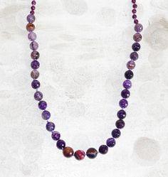 Purple amethyst necklace - statement gemstones necklace - amethyst beaded necklace - 28'' long - February birthstone