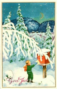 Julekort gutt sender julekort Paul Lillo-Stenberg Utg Mittet stemplet 1957 Holiday Cards, Christmas Cards, Merry Christmas, God Jul, Norwegian Christmas, Scandinavian Countries, Christmas Postcards, Norway, Painting